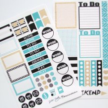 Teal and Glitter Stickers