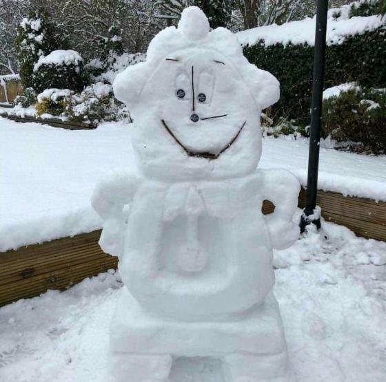 Cogsworth Snowman Beauty and the Beast